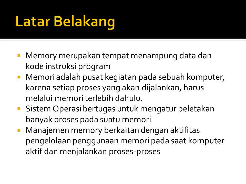  Overlay membagi program yang besar menjadi bagian- bagian yang lebih kecil dan dapat dimuat dalam memori utama.