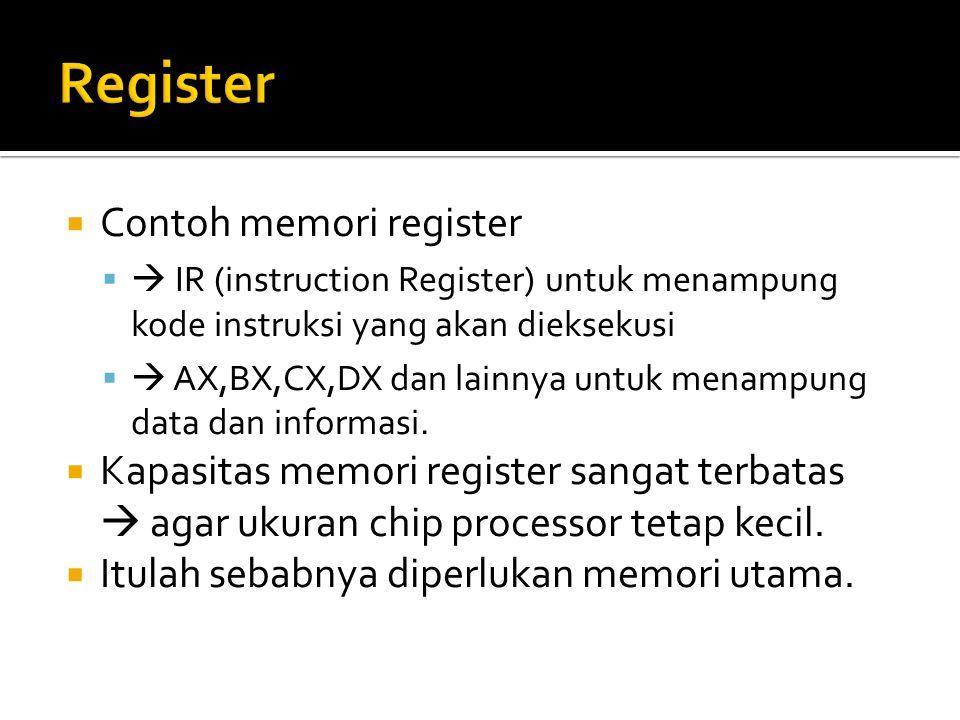  Contoh memori register   IR (instruction Register) untuk menampung kode instruksi yang akan dieksekusi   AX,BX,CX,DX dan lainnya untuk menampung