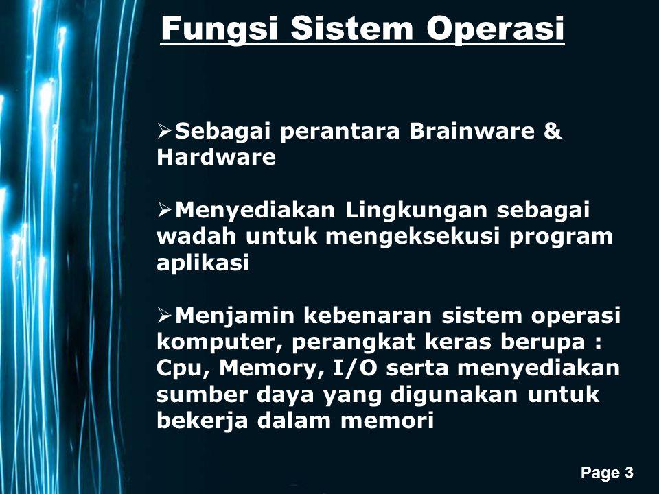 Page 3 Fungsi Sistem Operasi  Sebagai perantara Brainware & Hardware  Menyediakan Lingkungan sebagai wadah untuk mengeksekusi program aplikasi  Menjamin kebenaran sistem operasi komputer, perangkat keras berupa : Cpu, Memory, I/O serta menyediakan sumber daya yang digunakan untuk bekerja dalam memori