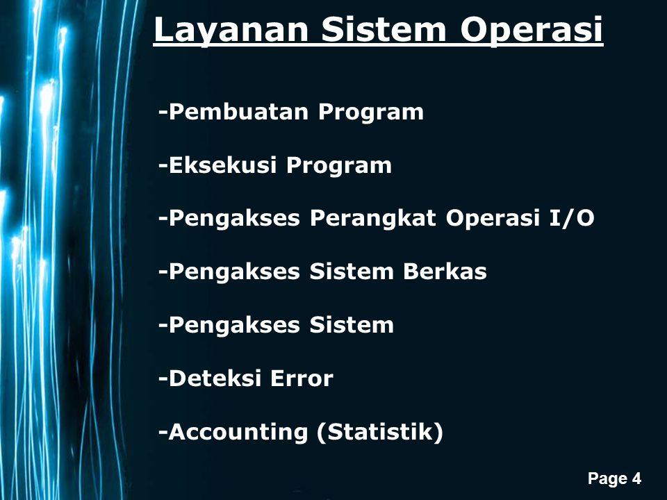Page 4 Layanan Sistem Operasi -Pembuatan Program -Eksekusi Program -Pengakses Perangkat Operasi I/O -Pengakses Sistem Berkas -Pengakses Sistem -Deteksi Error -Accounting (Statistik)