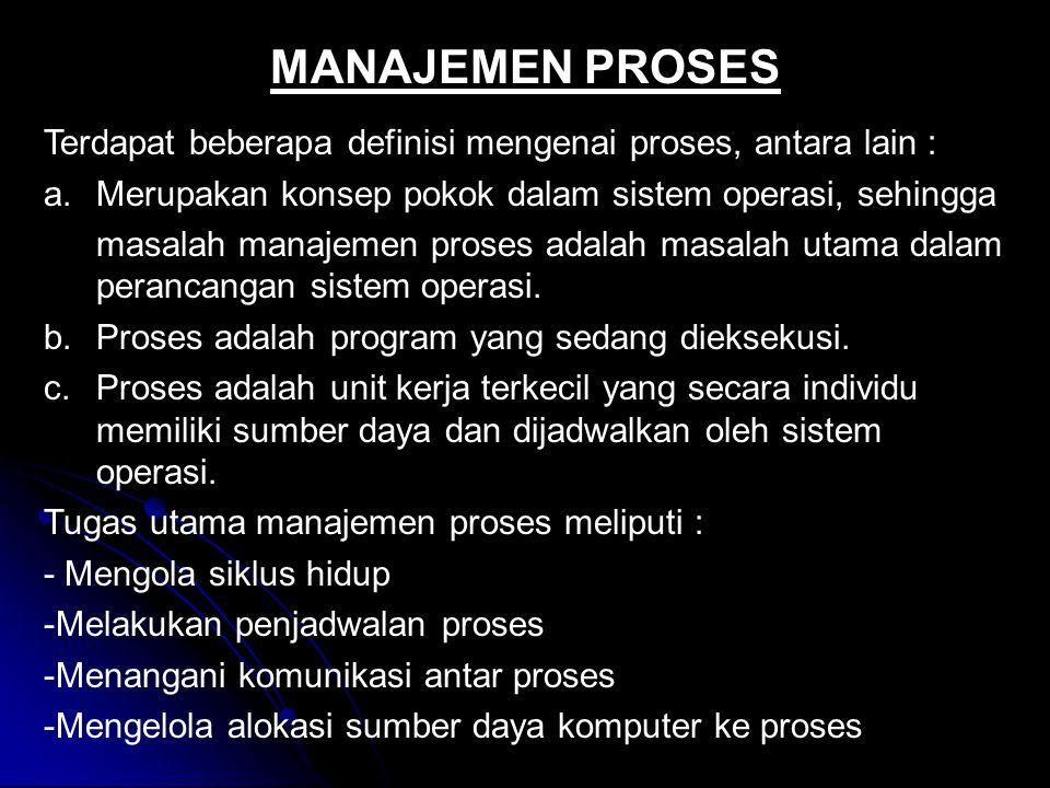 Terdapat beberapa definisi mengenai proses, antara lain : a.Merupakan konsep pokok dalam sistem operasi, sehingga masalah manajemen proses adalah masa