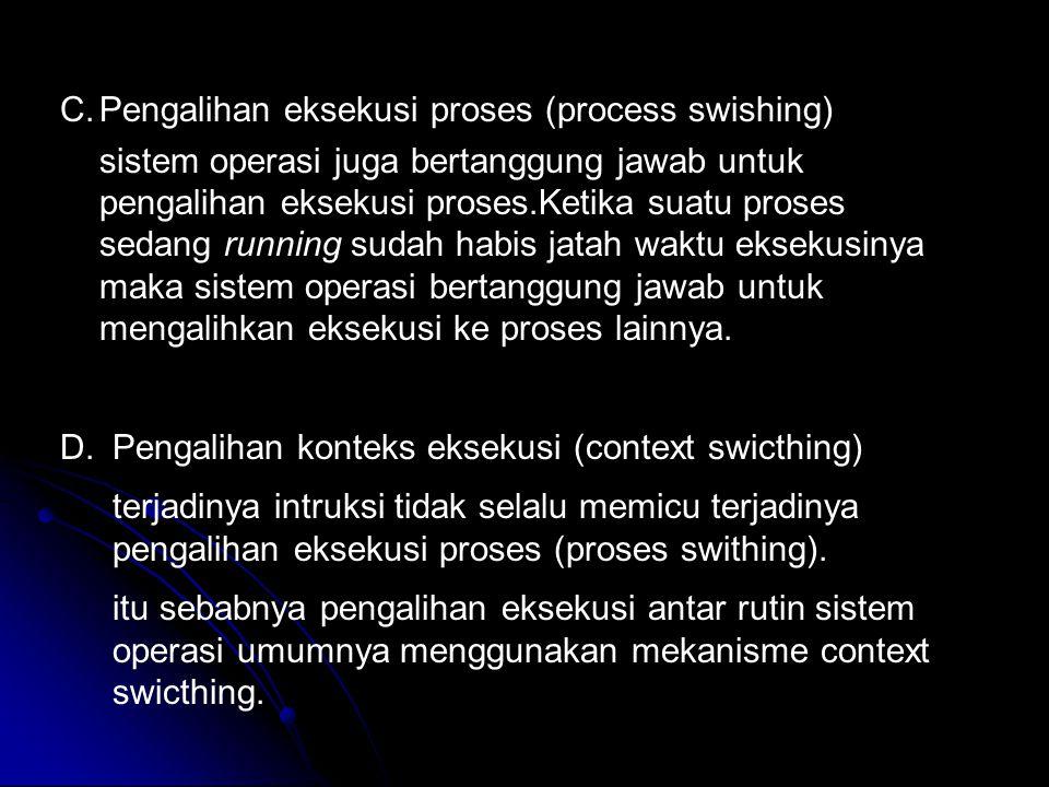 C.Pengalihan eksekusi proses (process swishing) sistem operasi juga bertanggung jawab untuk pengalihan eksekusi proses.Ketika suatu proses sedang runn