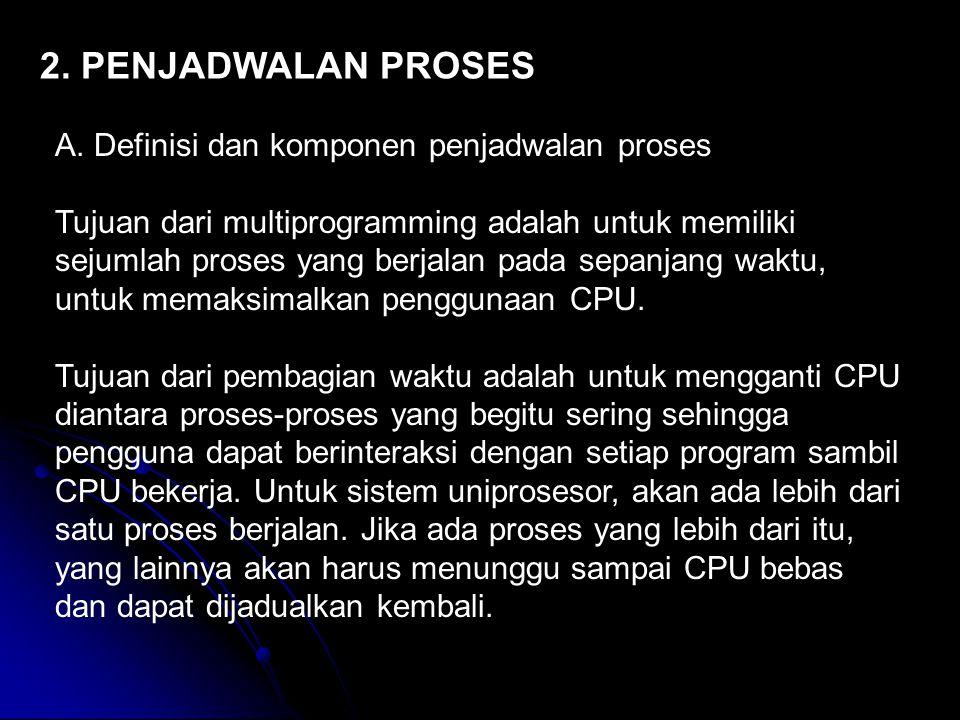 2. PENJADWALAN PROSES A. Definisi dan komponen penjadwalan proses Tujuan dari multiprogramming adalah untuk memiliki sejumlah proses yang berjalan pad