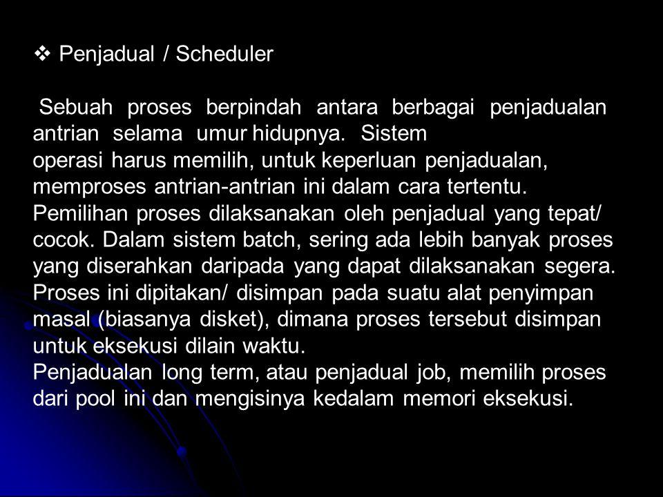  Penjadual / Scheduler Sebuah proses berpindah antara berbagai penjadualan antrian selama umur hidupnya. Sistem operasi harus memilih, untuk keperlua