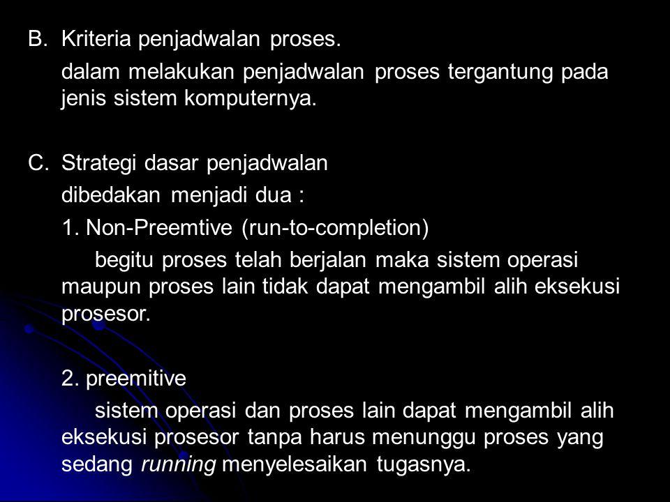 B.Kriteria penjadwalan proses. dalam melakukan penjadwalan proses tergantung pada jenis sistem komputernya. C.Strategi dasar penjadwalan dibedakan men
