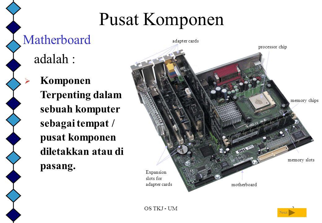 OS TKJ - UM3 Pusat Komponen Matherboard adalah : Next  Komponen Terpenting dalam sebuah komputer sebagai tempat / pusat komponen diletakkan atau di pasang.