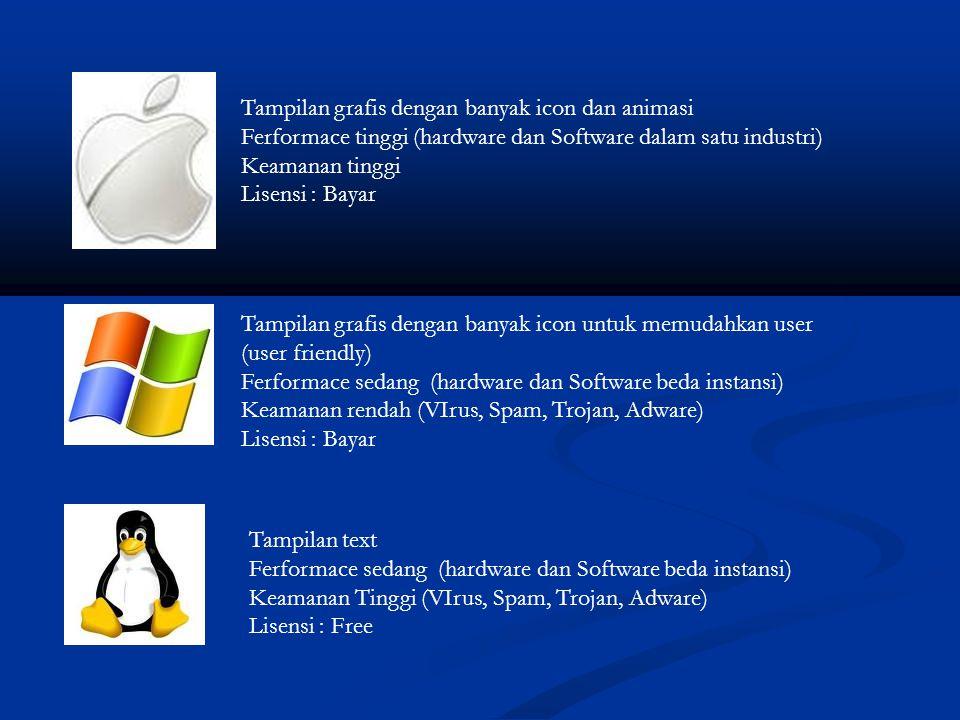 Tampilan grafis dengan banyak icon dan animasi Ferformace tinggi (hardware dan Software dalam satu industri) Keamanan tinggi Lisensi : Bayar Tampilan grafis dengan banyak icon untuk memudahkan user (user friendly) Ferformace sedang (hardware dan Software beda instansi) Keamanan rendah (VIrus, Spam, Trojan, Adware) Lisensi : Bayar Tampilan text Ferformace sedang (hardware dan Software beda instansi) Keamanan Tinggi (VIrus, Spam, Trojan, Adware) Lisensi : Free