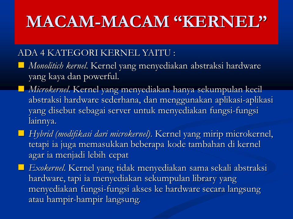 """MACAM-MACAM """"KERNEL"""" ADA 4 KATEGORI KERNEL YAITU : Monolitich kernel. Kernel yang menyediakan abstraksi hardware yang kaya dan powerful. Monolitich ke"""