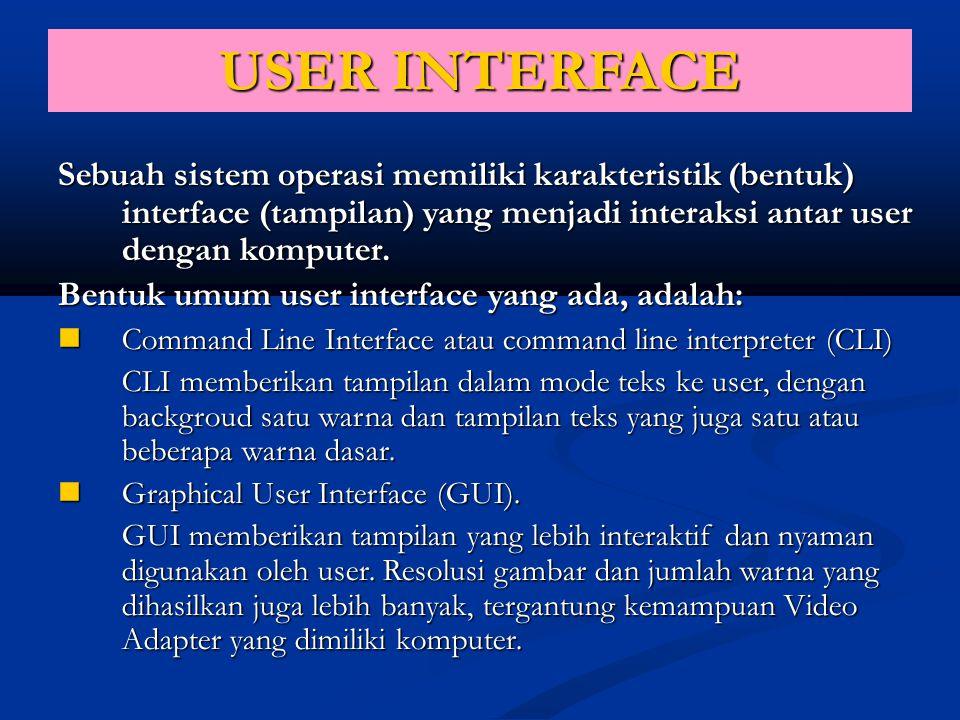 USER INTERFACE Sebuah sistem operasi memiliki karakteristik (bentuk) interface (tampilan) yang menjadi interaksi antar user dengan komputer.