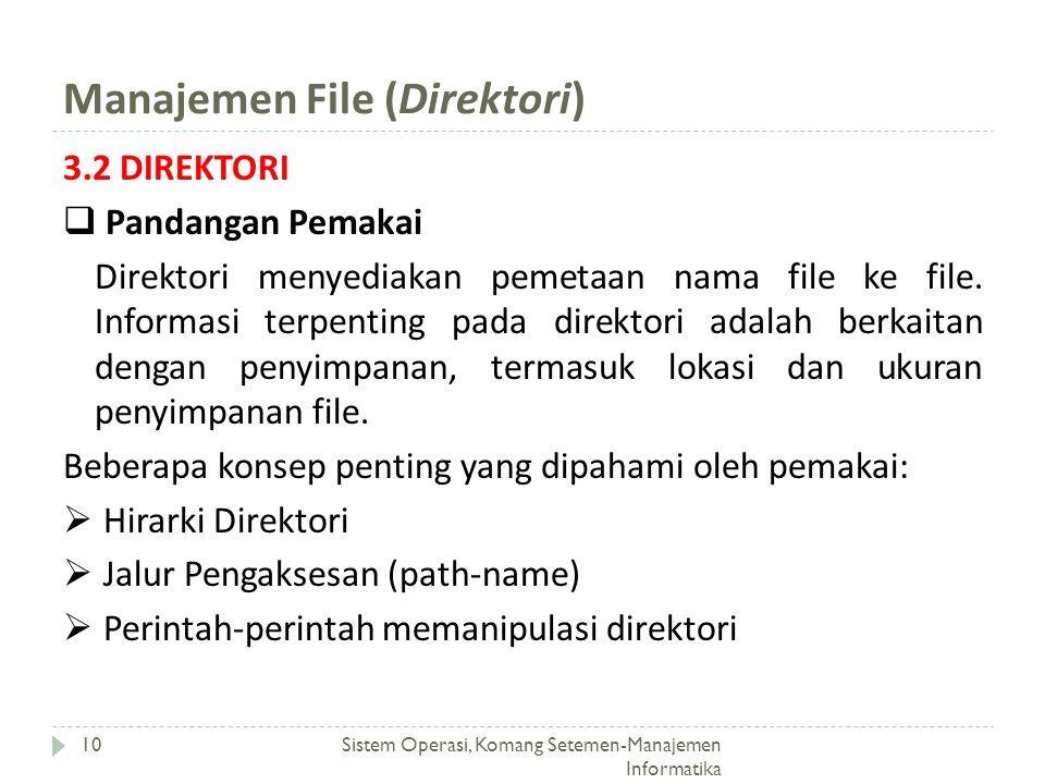 Manajemen File (Direktori) Sistem Operasi, Komang Setemen-Manajemen Informatika 10 3.2 DIREKTORI  Pandangan Pemakai Direktori menyediakan pemetaan na
