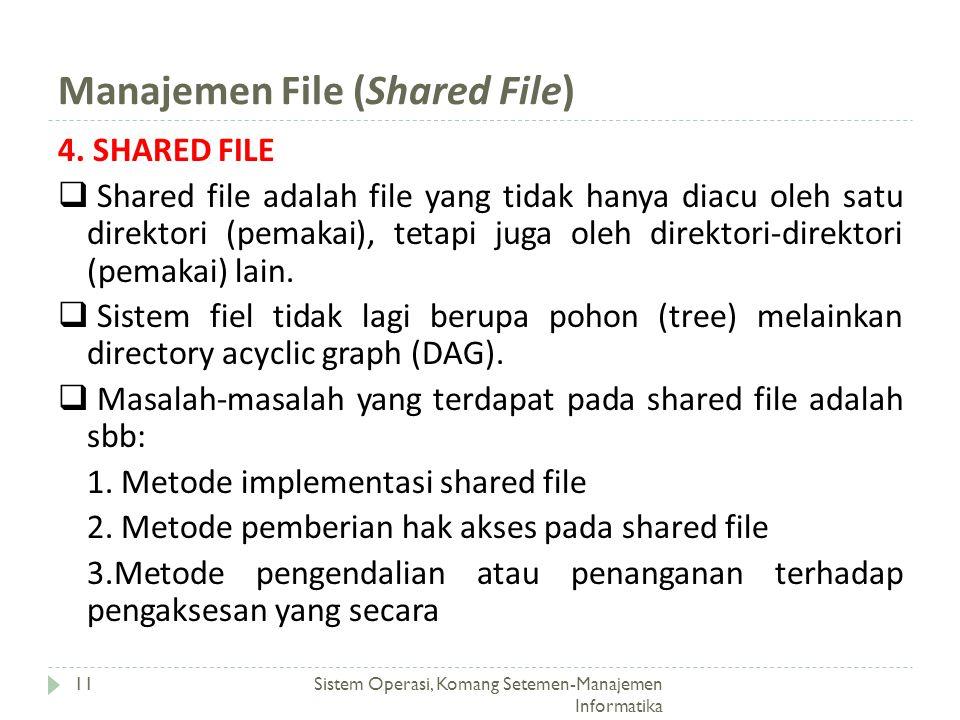 Manajemen File (Shared File) Sistem Operasi, Komang Setemen-Manajemen Informatika 11 4. SHARED FILE  Shared file adalah file yang tidak hanya diacu o