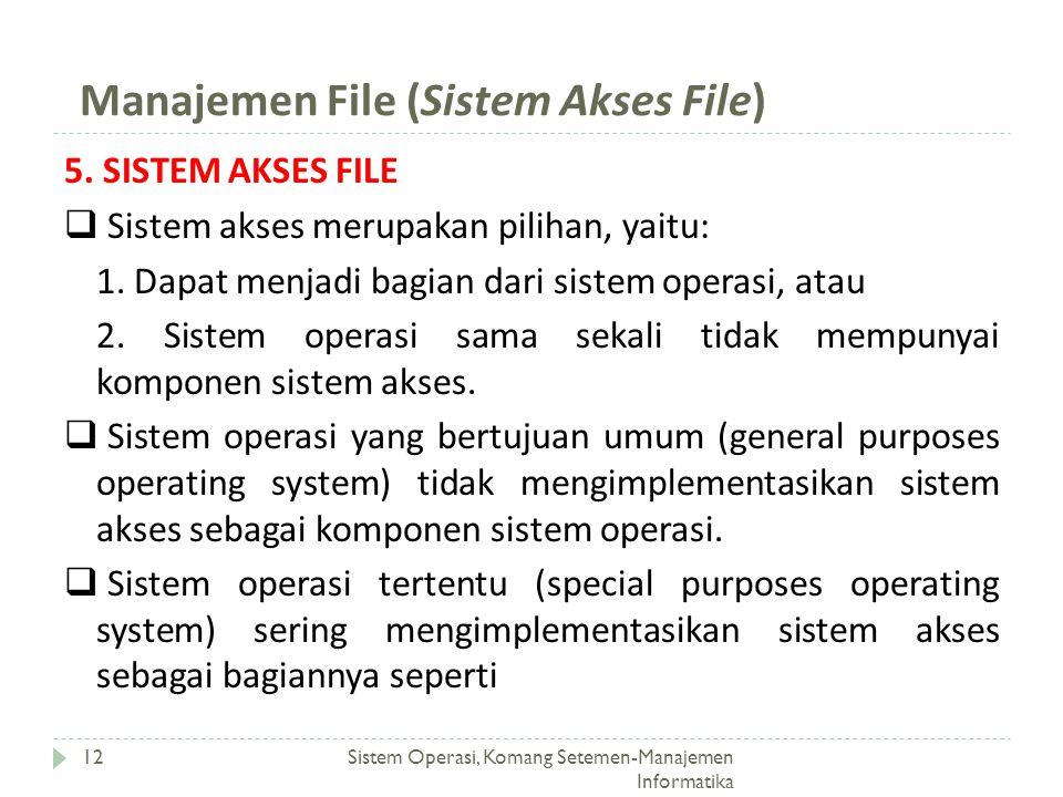Manajemen File (Sistem Akses File) Sistem Operasi, Komang Setemen-Manajemen Informatika 12 5. SISTEM AKSES FILE  Sistem akses merupakan pilihan, yait