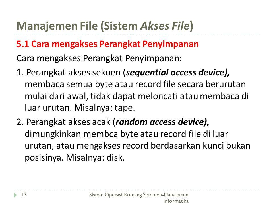 Manajemen File (Sistem Akses File) Sistem Operasi, Komang Setemen-Manajemen Informatika 13 5.1 Cara mengakses Perangkat Penyimpanan Cara mengakses Per