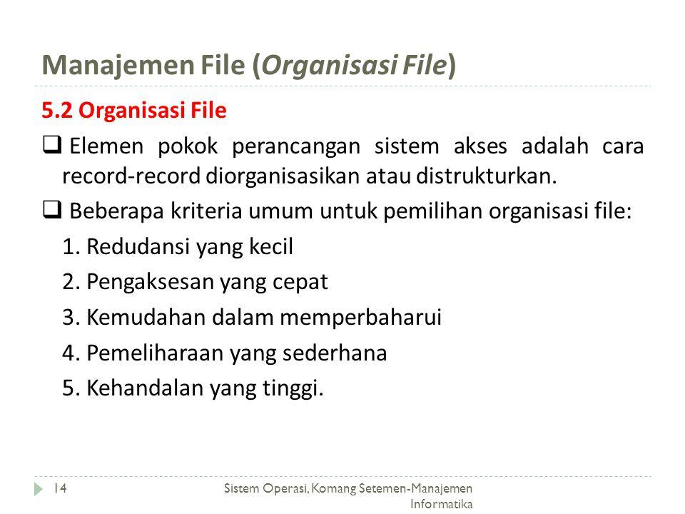 Manajemen File (Organisasi File) Sistem Operasi, Komang Setemen-Manajemen Informatika 14 5.2 Organisasi File  Elemen pokok perancangan sistem akses a