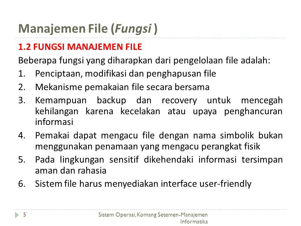 Manajemen File (Fungsi ) Sistem Operasi, Komang Setemen-Manajemen Informatika 5 1.2 FUNGSI MANAJEMEN FILE Beberapa fungsi yang diharapkan dari pengelo
