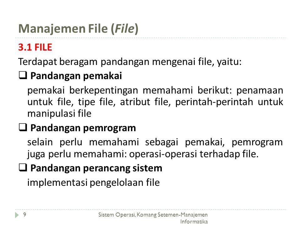 Manajemen File (File) Sistem Operasi, Komang Setemen-Manajemen Informatika 9 3.1 FILE Terdapat beragam pandangan mengenai file, yaitu:  Pandangan pem