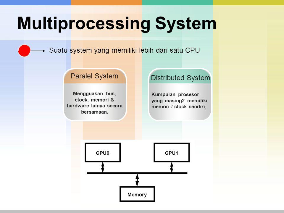 Multiprocessing System Suatu system yang memiliki lebih dari satu CPU Paralel System Mengguakan bus, clock, memori & hardware lainya secara bersamaan.