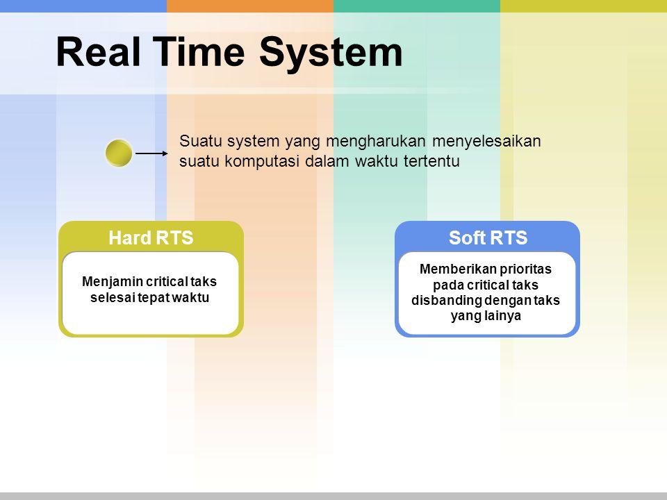 Real Time System Suatu system yang mengharukan menyelesaikan suatu komputasi dalam waktu tertentu Soft RTS Memberikan prioritas pada critical taks disbanding dengan taks yang lainya Hard RTS Menjamin critical taks selesai tepat waktu