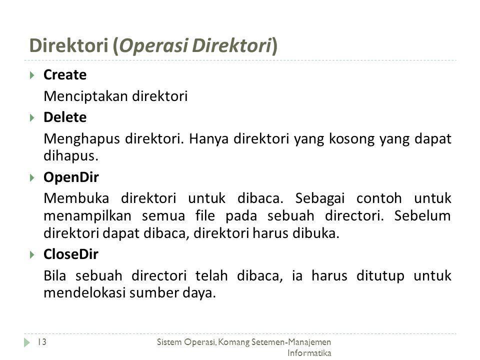 Direktori (Operasi Direktori) Sistem Operasi, Komang Setemen-Manajemen Informatika 13  Create Menciptakan direktori  Delete Menghapus direktori. Han