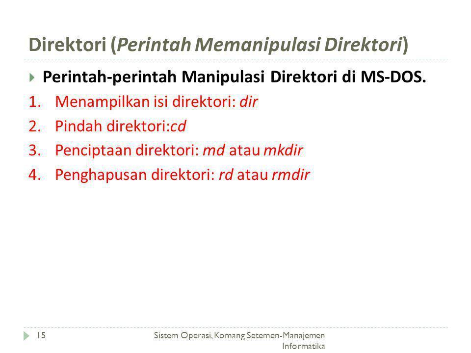 Direktori (Perintah Memanipulasi Direktori) Sistem Operasi, Komang Setemen-Manajemen Informatika 15  Perintah-perintah Manipulasi Direktori di MS-DOS