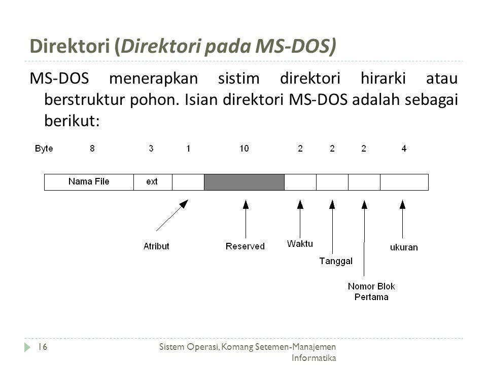 Direktori (Direktori pada MS-DOS) Sistem Operasi, Komang Setemen-Manajemen Informatika 16 MS-DOS menerapkan sistim direktori hirarki atau berstruktur