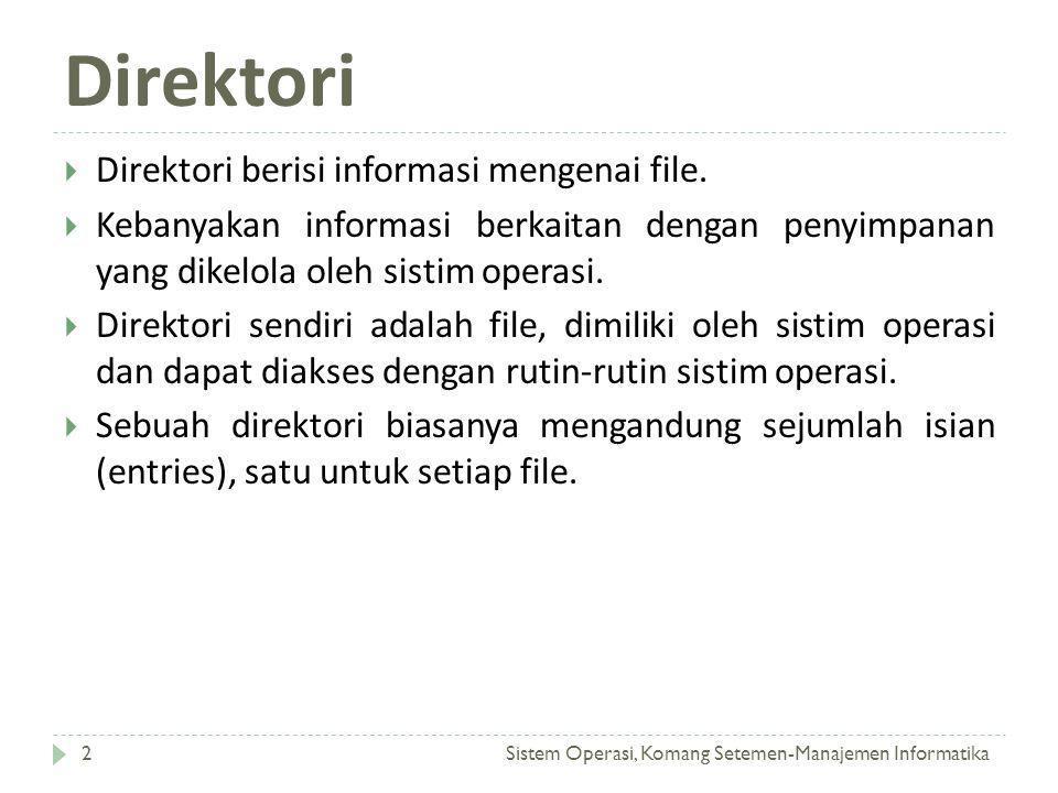 Direktori Sistem Operasi, Komang Setemen-Manajemen Informatika2  Direktori berisi informasi mengenai file.  Kebanyakan informasi berkaitan dengan pe