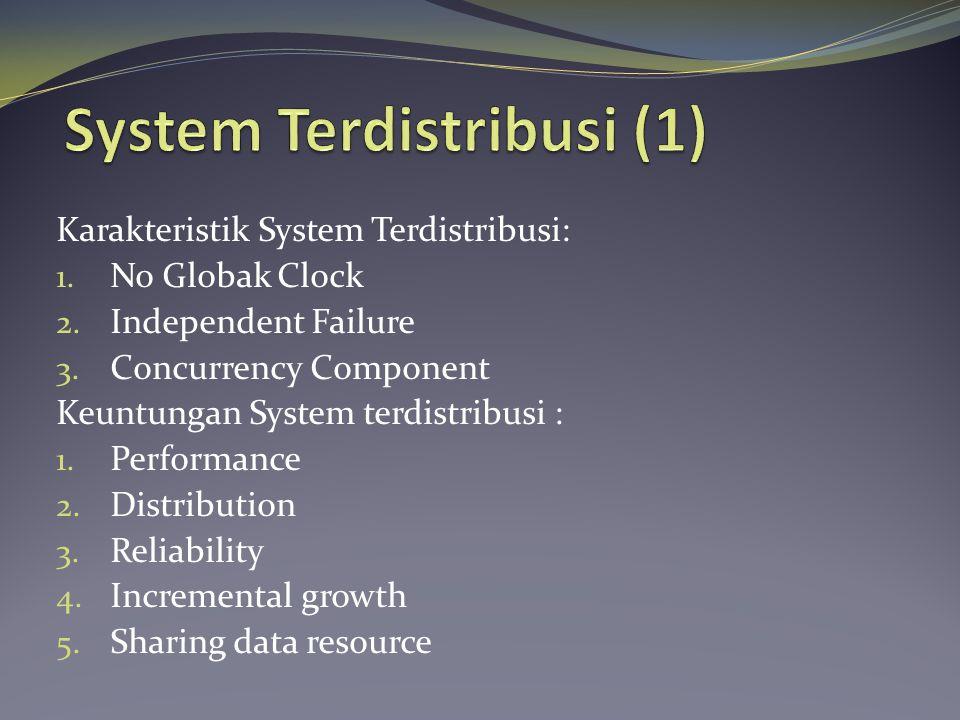 Karakteristik System Terdistribusi: 1. No Globak Clock 2.