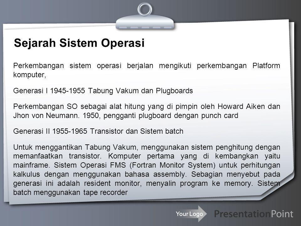 Your Logo Sejarah Sistem Operasi Perkembangan sistem operasi berjalan mengikuti perkembangan Platform komputer, Generasi I 1945-1955 Tabung Vakum dan