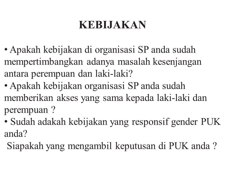 KEBIJAKAN Apakah kebijakan di organisasi SP anda sudah mempertimbangkan adanya masalah kesenjangan antara perempuan dan laki-laki? Apakah kebijakan or