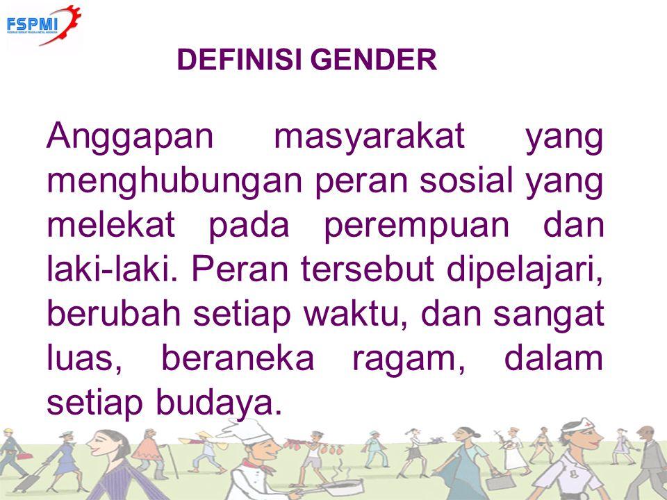 DEFINISI GENDER Anggapan masyarakat yang menghubungan peran sosial yang melekat pada perempuan dan laki-laki. Peran tersebut dipelajari, berubah setia