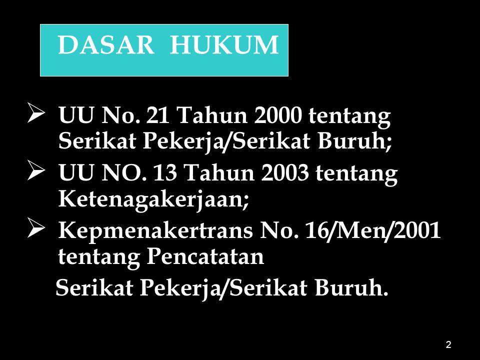 2 DASAR HUKUM   UU No.21 Tahun 2000 tentang Serikat Pekerja/Serikat Buruh;   UU NO.