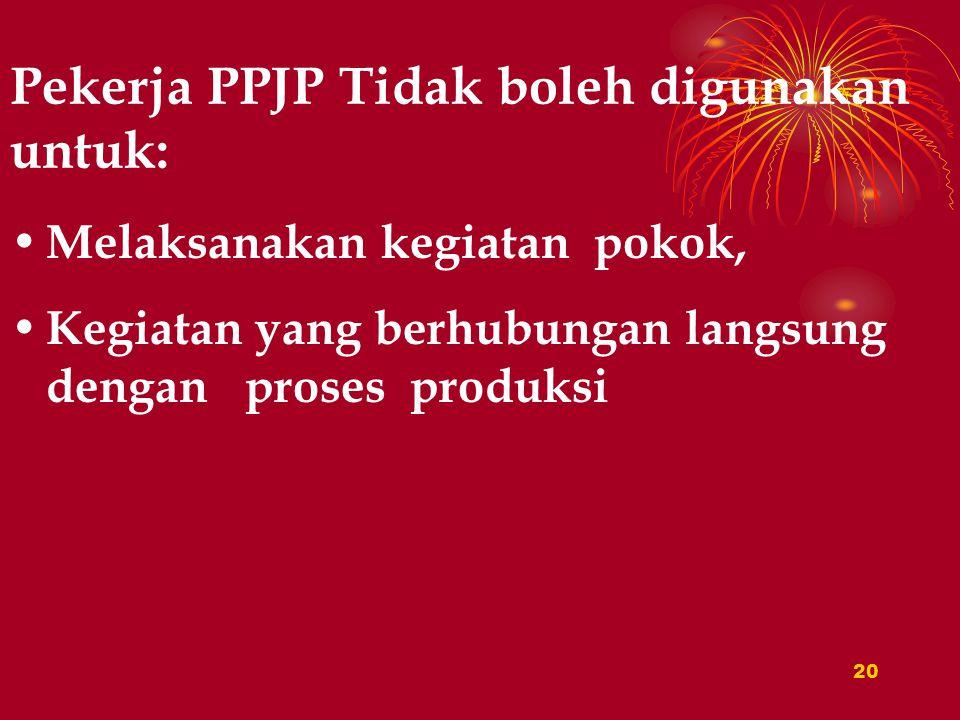 19 Pemberi Kerja Membuat Perjanjian Tertulis Dengan PPPJP, yang Memuat: 1.Jenis pekerjaan dilakukan oleh pekerja dari PPJP 2.Dalam melaksanakan pekerjaan, hk-nya adalah antara PPJP dengan pekerja yang dipekerjakan perusahaan PPJP: 3.