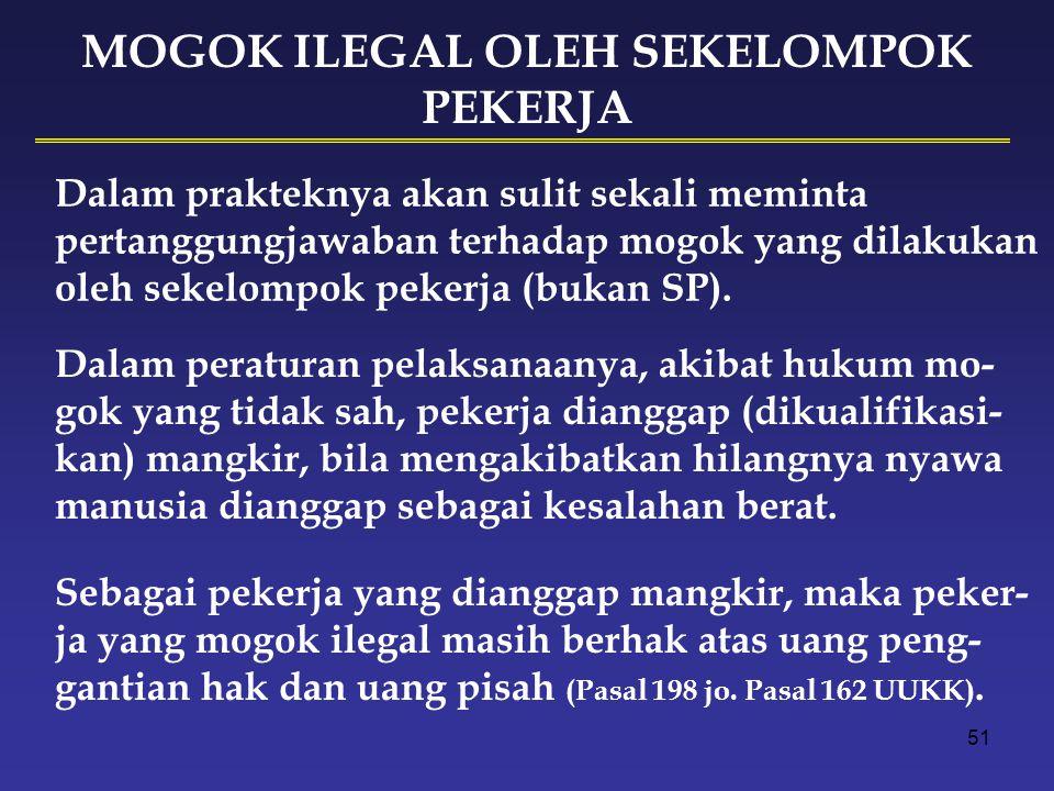 50 MOGOK KERJA Mogok kerja sebagai hak dasar pekerja dan SP dilakukan secara sah, tertib, dan damai sebagai akibat gagalnya perundingan