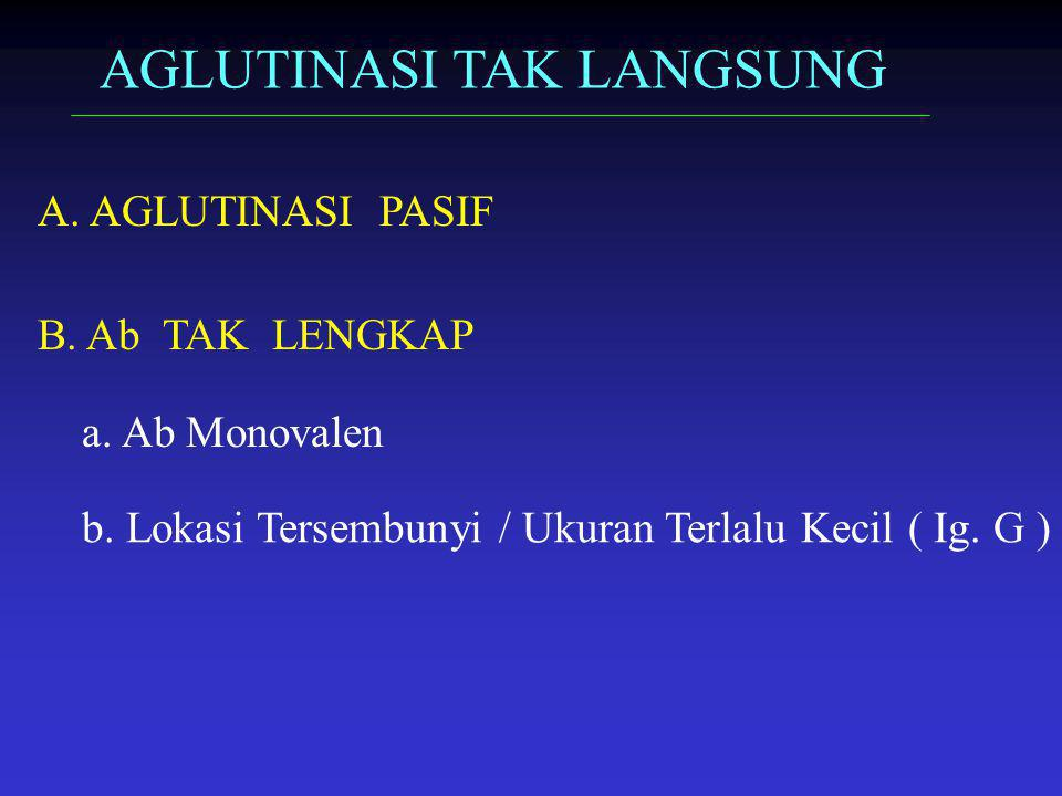 AGLUTINASI TAK LANGSUNG A. AGLUTINASI PASIF B. Ab TAK LENGKAP a. Ab Monovalen b. Lokasi Tersembunyi / Ukuran Terlalu Kecil ( Ig. G )