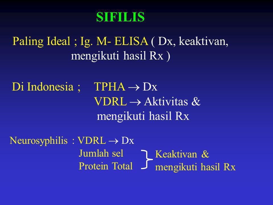 SIFILIS Paling Ideal ; Ig. M- ELISA ( Dx, keaktivan, mengikuti hasil Rx ) Di Indonesia ;TPHA  Dx VDRL  Aktivitas & mengikuti hasil Rx Neurosyphilis