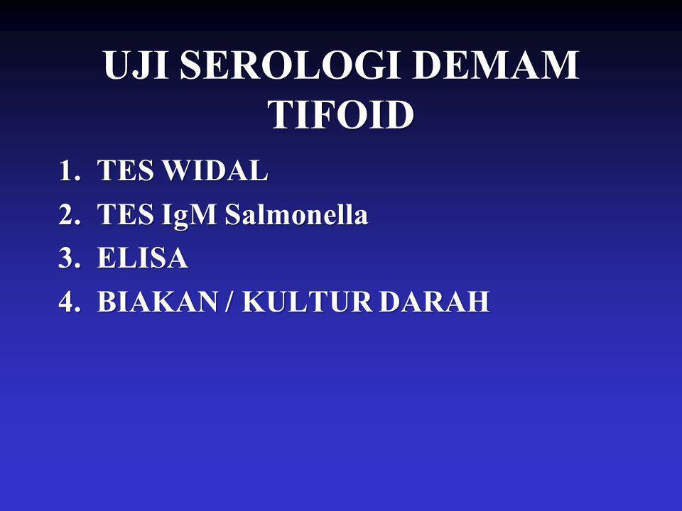 UJI SEROLOGI DEMAM TIFOID 1.TES WIDAL 2.TES IgM Salmonella 3.ELISA 4.BIAKAN / KULTUR DARAH