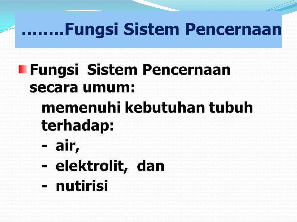 ……..Fungsi Sistem Pencernaan Fungsi Sistem Pencernaan secara umum: memenuhi kebutuhan tubuh terhadap: -air, -elektrolit, dan -nutirisi