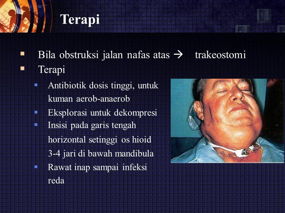 Terapi  Bila obstruksi jalan nafas atas  trakeostomi  Terapi  Antibiotik dosis tinggi, untuk kuman aerob-anaerob  Eksplorasi untuk dekompres