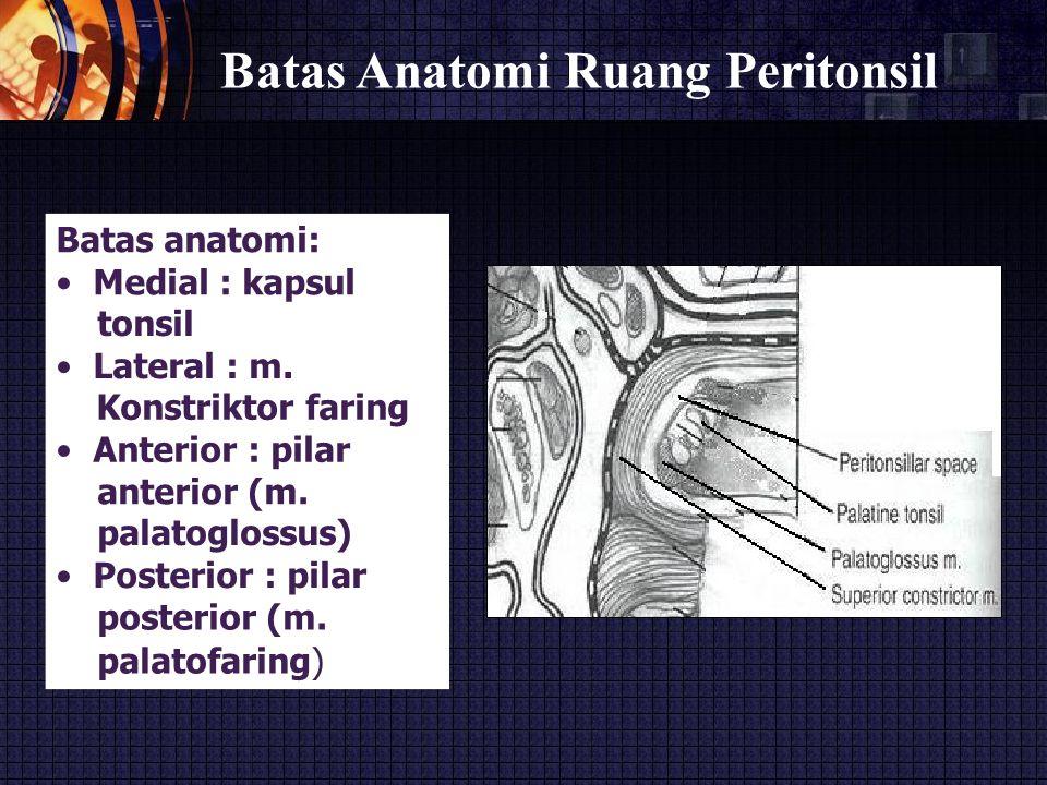 Batas Anatomi Ruang Peritonsil Batas anatomi: Medial : kapsul tonsil Lateral : m. Konstriktor faring Anterior : pilar anterior (m. palatoglossus) Post