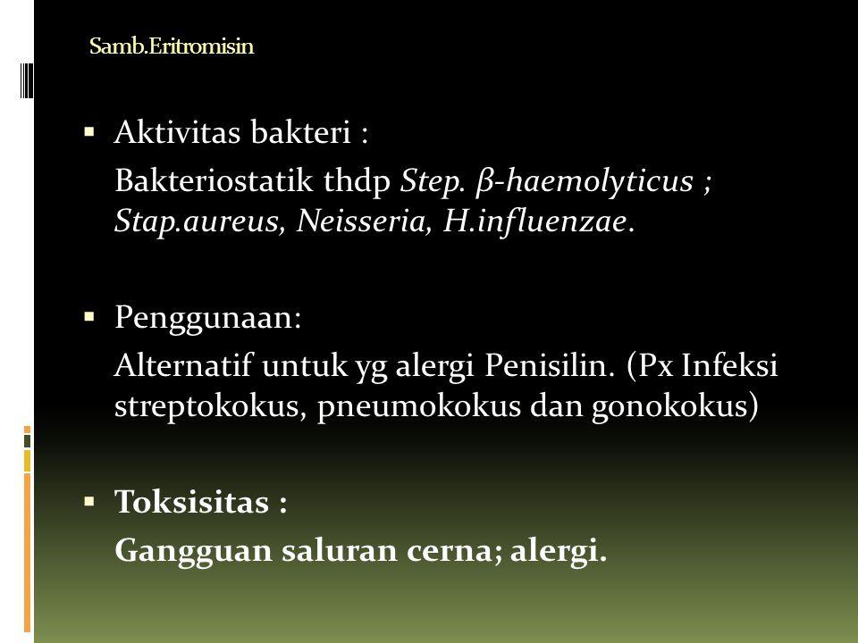 Samb.Eritromisin  Aktivitas bakteri : Bakteriostatik thdp Step. β-haemolyticus ; Stap.aureus, Neisseria, H.influenzae.  Penggunaan: Alternatif untuk