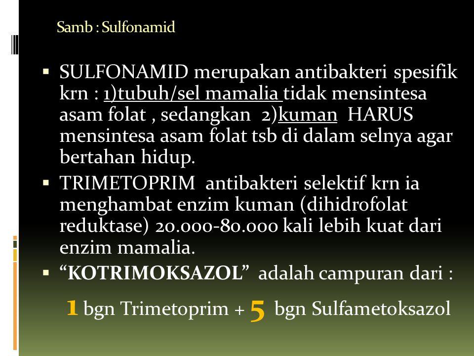 Samb : Sulfonamid  SULFONAMID merupakan antibakteri spesifik krn : 1)tubuh/sel mamalia tidak mensintesa asam folat, sedangkan 2)kuman HARUS mensintes