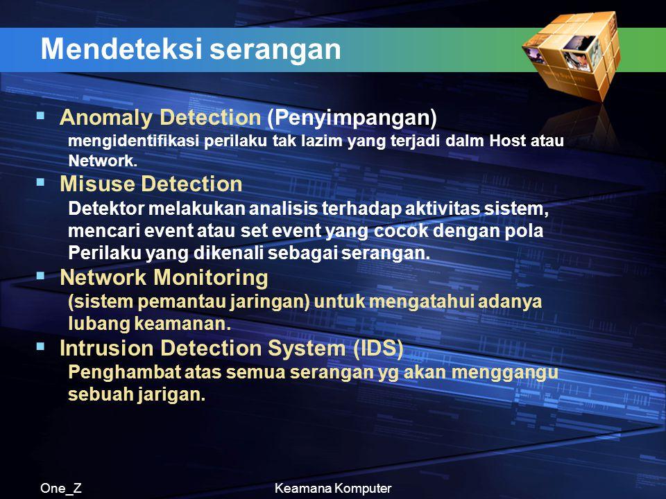 One_ZKeamana Komputer Mendeteksi serangan  Anomaly Detection (Penyimpangan) mengidentifikasi perilaku tak lazim yang terjadi dalm Host atau Network.