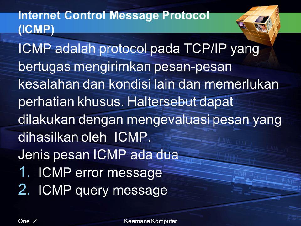 One_ZKeamana Komputer Internet Control Message Protocol (ICMP) ICMP adalah protocol pada TCP/IP yang bertugas mengirimkan pesan-pesan kesalahan dan kondisi lain dan memerlukan perhatian khusus.