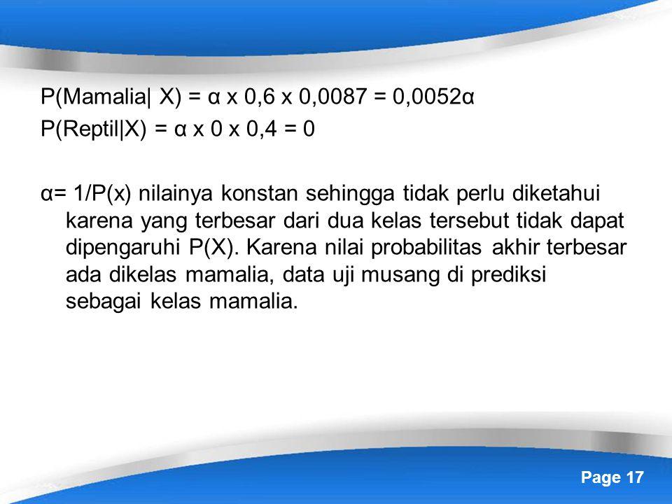 Page 17 P(Mamalia| X) = α x 0,6 x 0,0087 = 0,0052α P(Reptil|X) = α x 0 x 0,4 = 0 α= 1/P(x) nilainya konstan sehingga tidak perlu diketahui karena yang terbesar dari dua kelas tersebut tidak dapat dipengaruhi P(X).