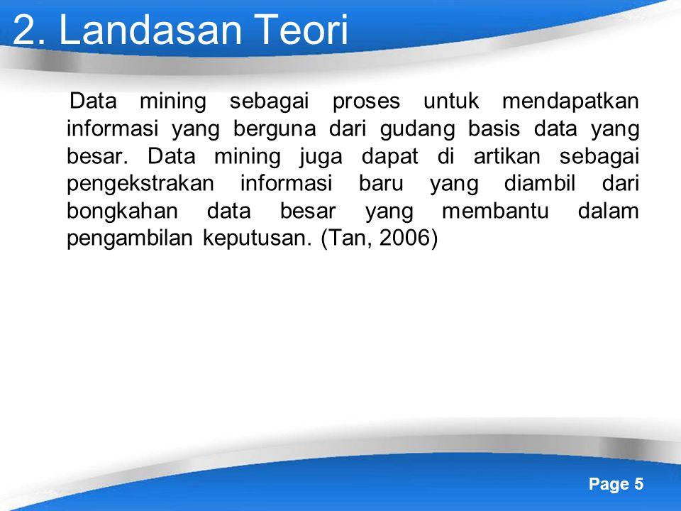 Page 5 2. Landasan Teori Data mining sebagai proses untuk mendapatkan informasi yang berguna dari gudang basis data yang besar. Data mining juga dapat