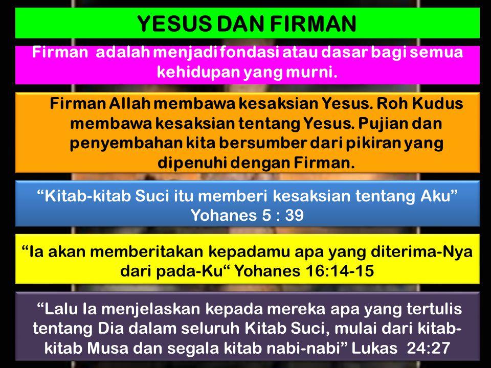 """Kitab-kitab Suci itu memberi kesaksian tentang Aku"" Yohanes 5 : 39 ""Ia akan memberitakan kepadamu apa yang diterima-Nya dari pada-Ku"" Yohanes 16:14-1"