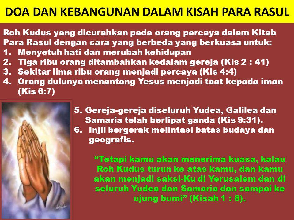 RAHASIA TERJADINYA KEBANGUNAN Rahasia kebangunan pada gereja mula-mula adalah : 4.Mereka semua penuh dengan Roh Kudus, lalu mereka memberitakan firman Allah dengan berani (Kisah 4 : 31).