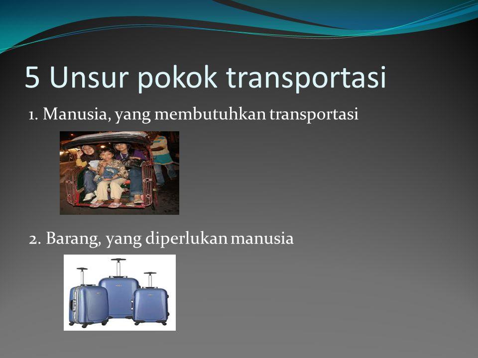 5 Unsur pokok transportasi 1. Manusia, yang membutuhkan transportasi 2. Barang, yang diperlukan manusia