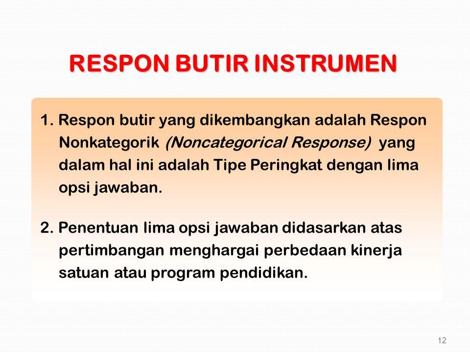 1. Respon butir yang dikembangkan adalah Respon Nonkategorik (Noncategorical Response) yang dalam hal ini adalah Tipe Peringkat dengan lima opsi jawab