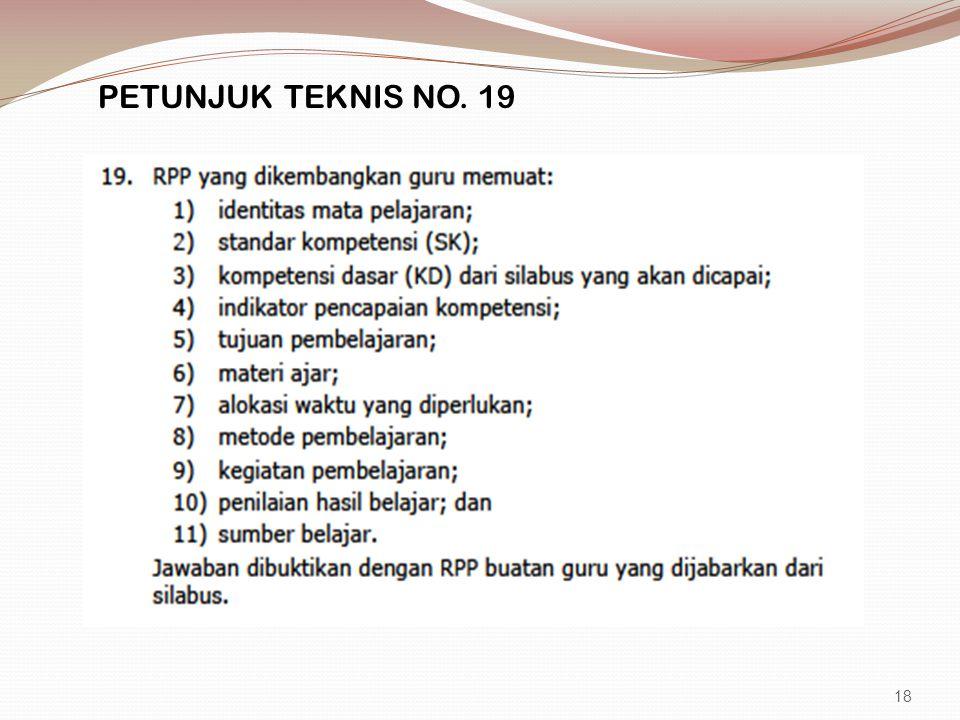 PETUNJUK TEKNIS NO. 19 18